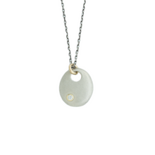 Load image into Gallery viewer, Oxidized Sterling & 14K Gold Diamond Disc Necklace