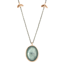 Load image into Gallery viewer, Oxidized Sterling & 14K Rose Gold Moss Aquamarine Necklace