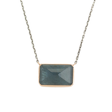 Load image into Gallery viewer, Oxidized Sterling & 14K Rose Gold Rectangle Moss Aquamarine Necklace