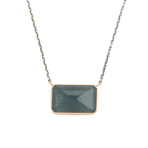 Oxidized Sterling & 14K Rose Gold Rectangle Moss Aquamarine Necklace