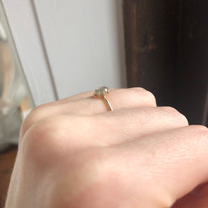 0.55 ct Teardrop Rustic Diamond Ring
