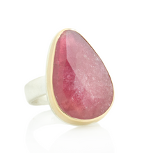 Load image into Gallery viewer, Sterling & 14K Gold Teardrop Pink Sapphire Ring
