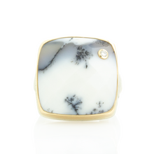 Load image into Gallery viewer, Sterling & 14K Gold Square Dendritic Opal & Black Diamond Ring