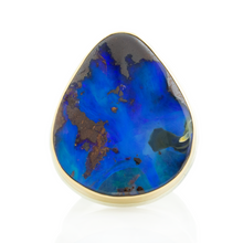 Load image into Gallery viewer, Sterling & 14K Gold Teardrop Boulder Opal Ring