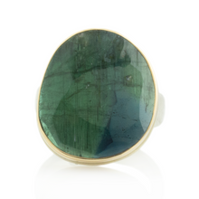 Load image into Gallery viewer, Sterling & 14K Gold Blue Green Tourmaline Ring