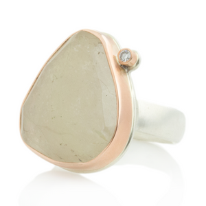 Sterling & 14K Rose Gold Linen Sapphire & Diamond Ring