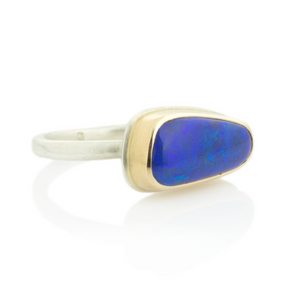 Sterling & 14K Gold Small Australian Opal Ring