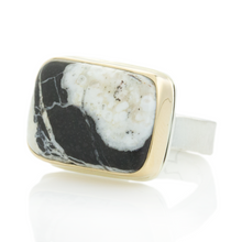 Load image into Gallery viewer, Sterling & 14K Gold Rectangular White Buffalo Turquoise Ring