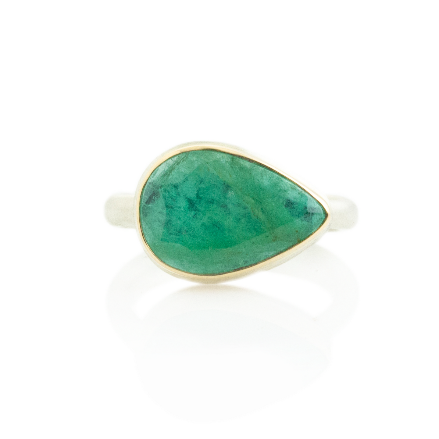 Sterling & 14K Gold Teardrop Emerald Ring