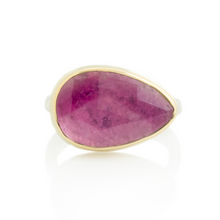 Load image into Gallery viewer, Sterling & 14K Gold Teardrop Pink Tourmaline Ring