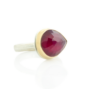 Sterling & 14K Gold Teardrop African Ruby Ring