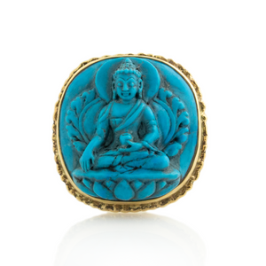 14K Gold Sleeping Beauty Turquoise Carved Buddha Ring