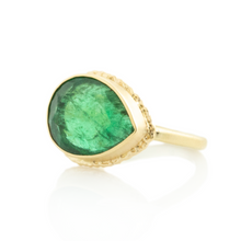 Load image into Gallery viewer, 14K Gold Ruffled Edge Open Back Teardrop Emerald Ring
