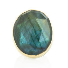 Load image into Gallery viewer, Sterling & 14K Gold Large Oval Labradorite Ring