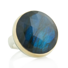 Load image into Gallery viewer, Sterling & 14K Gold Large Round Labradorite Ring