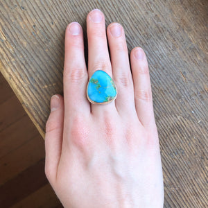 Sterling & 14K Gold Triangular Sonoran Mountain Turquoise Ring