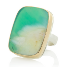 Load image into Gallery viewer, Sterling & 14K Gold Blue Indonesian Fossilized Opalized Wood Ring