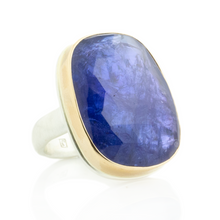 Load image into Gallery viewer, Sterling & 14K Gold Rectangular Tanzanite Ring