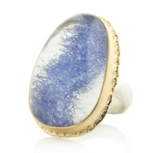 Load image into Gallery viewer, Sterling & 14K Gold Ruffled Edge Open Back Dumortierite Quartz Ring