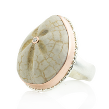 Load image into Gallery viewer, Sterling & 14K Rose Gold Large Fossilized Sea Urchin & Diamond Ring
