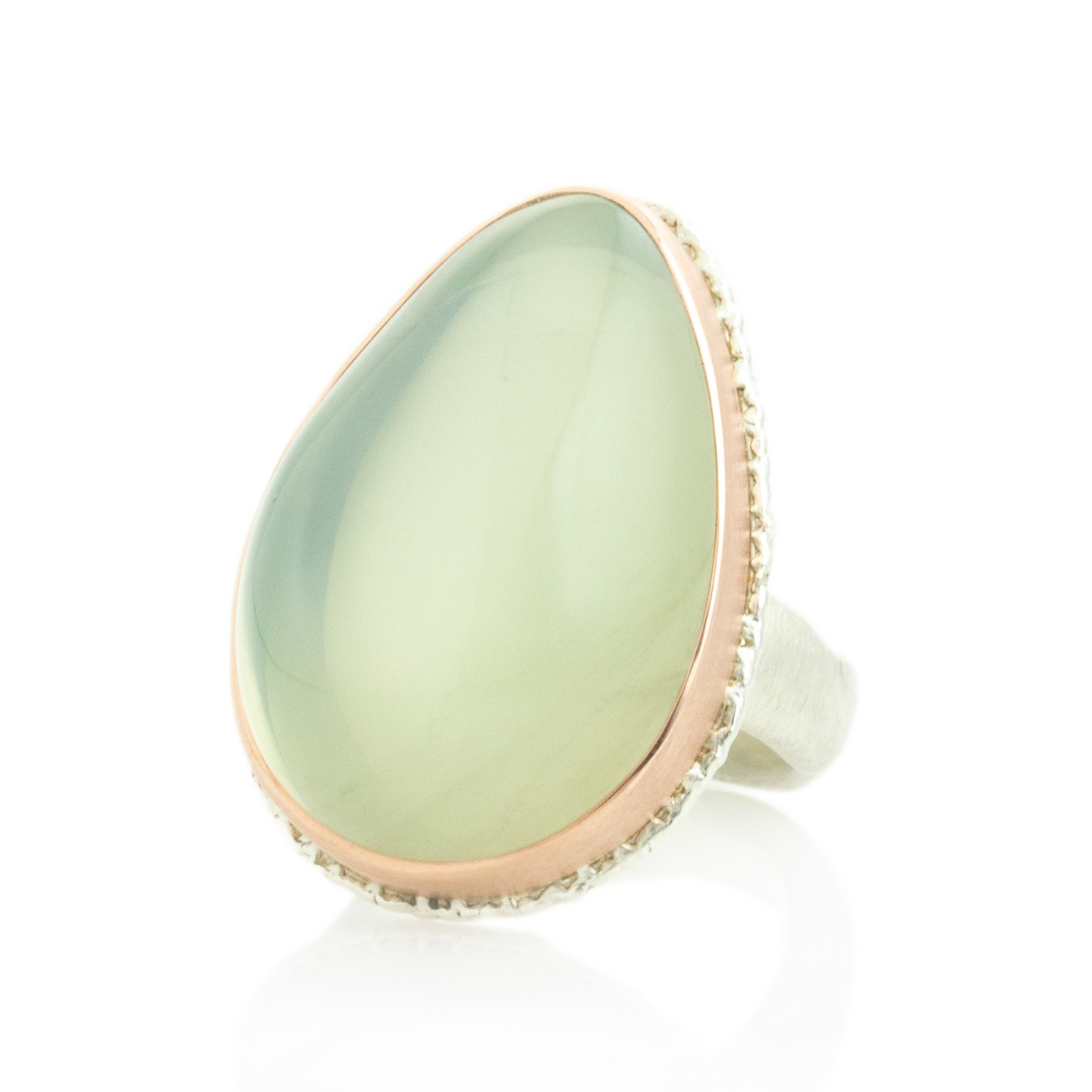 Sterling Lava Edge & 14K Rose Gold Teardrop Green Moonstone Ring