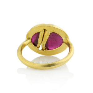 22K Golden Joinery Smooth Ruby Ring
