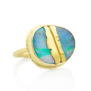 18 & 22K Golden Joinery Boulder Opal Ring