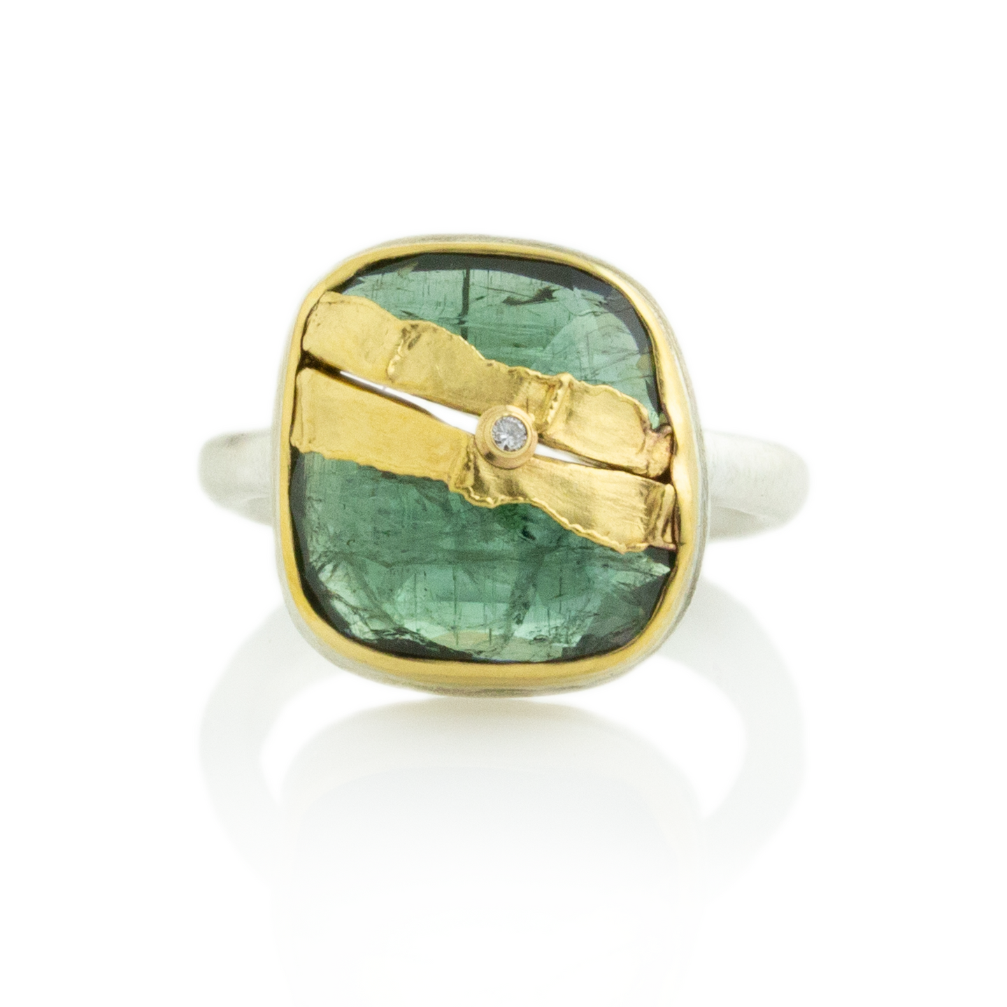 Sterling & 22K Golden Joinery Green Tourmaline Ring