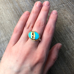Sterling & 22K Golden Joinery Sleeping Beauty Turquoise Ring