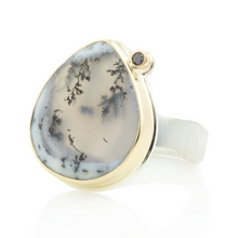 Load image into Gallery viewer, Sterling & 14K Gold Teardrop Dendritic Opal & Black Diamond Ring