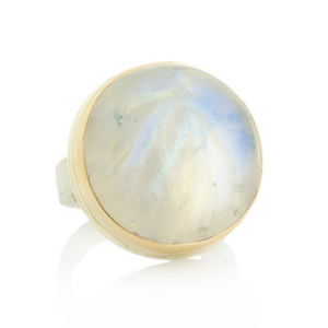 Sterling & 14K Gold Round Rainbow Moonstone Ring