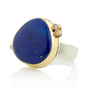Sterling & 14K Gold Lapis & Triple Diamond Ring
