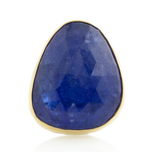 Sterling & 14K Gold Vertical Tanzanite Ring