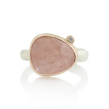 Load image into Gallery viewer, Sterling & 14K Rose Gold Morganite & Diamond Ring