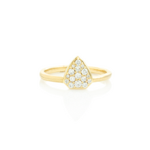 Load image into Gallery viewer, 14K Gold Shield Diamond Pave Cluster Ring