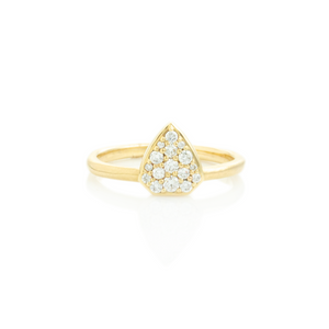 14K Gold Shield Diamond Pave Cluster Ring