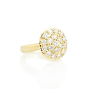14K Gold Large Round Diamond Pave Cluster Ring