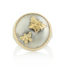 Load image into Gallery viewer, Sterling and 14K Gold Butterfly & Sapphire Ring