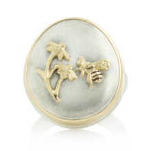 Load image into Gallery viewer, Sterling and 14K Gold Honey Bee Ring