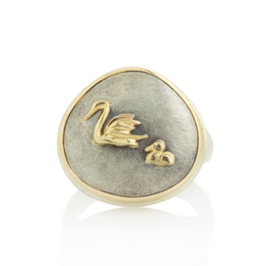Sterling and 14K Gold Swan Ring