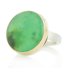 Load image into Gallery viewer, Sterling & 14K Gold Round Chrysoprase Ring