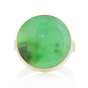 Sterling & 14K Gold Round Chrysoprase Ring