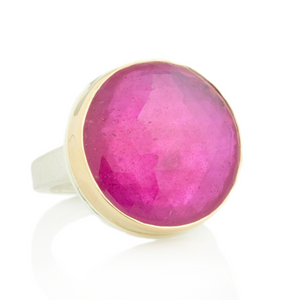 Sterling & 14K Gold Round African Ruby Ring