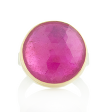 Load image into Gallery viewer, Sterling & 14K Gold Round African Ruby Ring