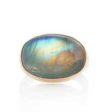 Load image into Gallery viewer, Sterling & 14K Rose Gold Oval Blue Rainbow Moonstone Ring