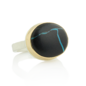 Sterling & 14K Gold Blackwater Turquoise Ring