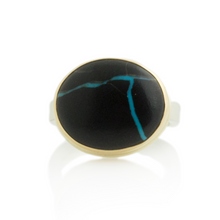 Load image into Gallery viewer, Sterling & 14K Gold Blackwater Turquoise Ring
