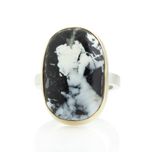 Load image into Gallery viewer, Sterling & 14K Gold Oval White Buffalo Turquoise Ring