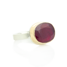 Load image into Gallery viewer, Sterling & 14K Gold Oval African Ruby Ring