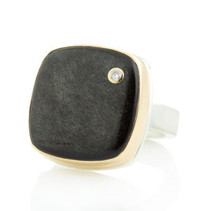 Sterling & 14K Gold Golden Obsidian & Diamond  Ring
